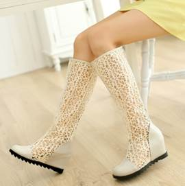 Exquisite Hollow-outs Zipper Knee High Boots