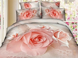 Romantic&warm Blossoming Roses 3D Bedding Sets