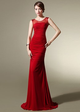 Gorgeous Sheath Scoop Sequins Tulle Evening Dress