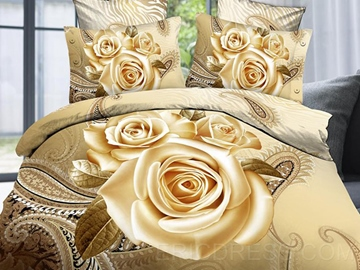 Luxury&noble Big Yellow Roses Print 4 Piece Bedding Sets