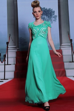 Charming A-Line Jewel Applique Evening Dress