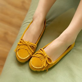 High- Cowhide Closed-Toe Bowknot Tassel Flats