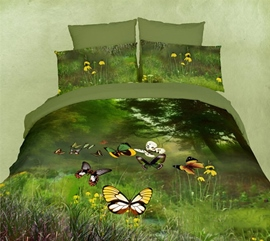 Ericdress Picturesque Butterfly Valley Print 3D Bedding Sets