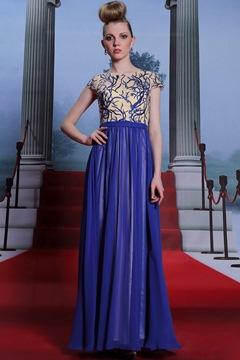 Fashionable Scoop Floor-Length Embroidery Zipper-Up Sleeves Prom Dress