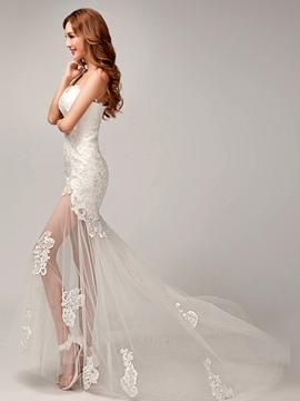 Charming One Shoulder Lace Asymmetry Applique Beach Wedding Dress