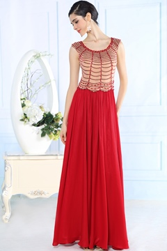 Charming A-Line Scoop Beading Floor Length Evening Dresses