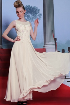Chic A-Line Bateau Beading Chiffon Evening Dress