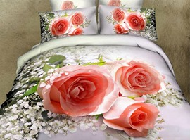 Romantic Blossoming Pink Roses 3D Bedding Sets