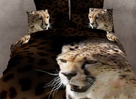 Mighty Leopard Print 4-Piece 3D Bedding Sets