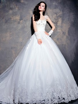 A-Line Floor-length Off-the-shoulder Lace-up Wedding Dress