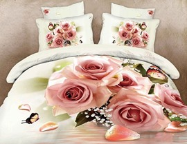 Hot Selling Stunning Rose 100% Cotton 3D Bedding Sets
