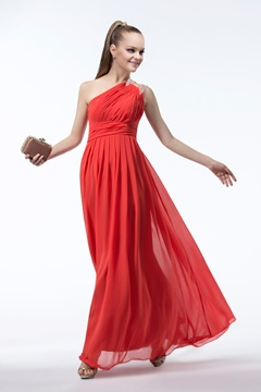Modern Empire One-shoulder Beading Bridesmaid Dress