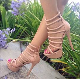 Impressive Solid Color Cut-Outs Zipper Sandals