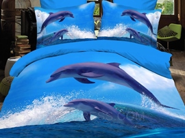 Conspicuous Dolphin Print 4PC Cotton 3D Bedding Sets