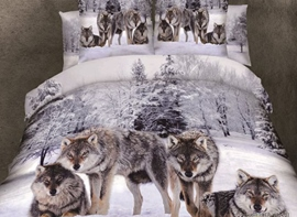 Ericdress Snow Wolf Print Cotton Bedding Sets