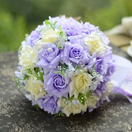 Best Cloths Purple And Ivory Flowers Wedding Bouquet