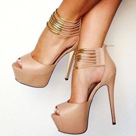 Hot PU Ankle Strap Peep-toe Sandals