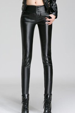 Ericdress Women's All Matched Black Leather Pants