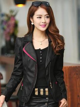 Multi Color Long Sleeves PU Lapel Jacket