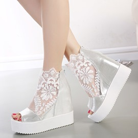 Pure Color Mesh Wedge Sandals