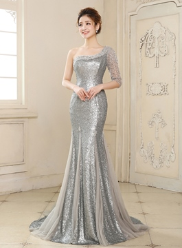 Ericdress elegante Mermaid One-Shoulder halbe Ärmel Pailletten Abendkleid