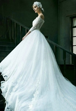 Fashion Off-The-Shoulder Appliques 3/4 Sleeves Cathedral Train Wedding Dress