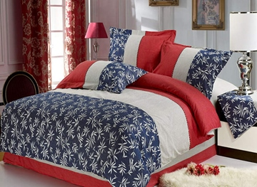 Ericdress Leaves Stripe 4-Piece Bedding Sets