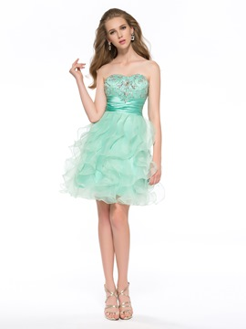 Sweet A-Line Strapless Ruffles Homecoming Dress