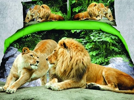 Vivid Idyllic Intimate Lions 3D Bedding Sets
