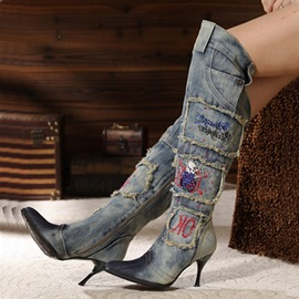 Cool Denim Rhinestone Knee High Boots