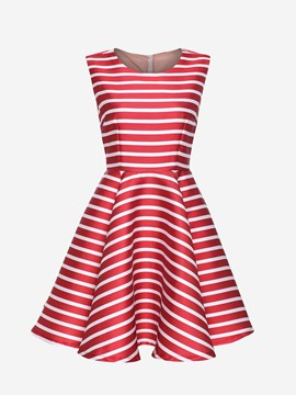 Red Striped Round Neckline Sleeveless Pleated Dress