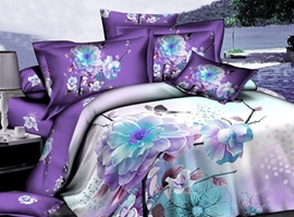 Noble Purple Tender Flowers 3D Bedding Sets