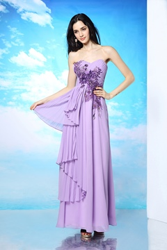 Modern Sweetheart A-Line Appliques Floor-Length Evening Dress