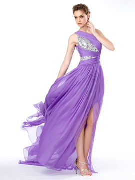 Sexy Fashion One Shoulder Sequins Rhinestones Split-Front A-Line Evening/Prom Dress