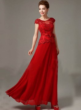 Gorgeous A-Line Scoop Appliques Cap Sleeves Bridesmaid Dress