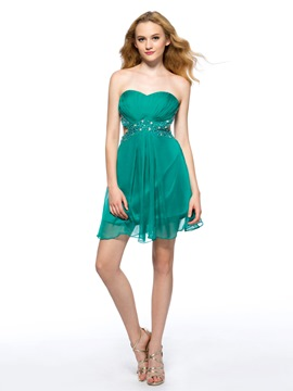 A-line Sweetheart Neckline Lower Zipper-up Short Homecoming Dress