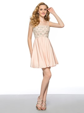 Amazing A-line Strap Scoop Neckline Crystal Short Homecoming Dress