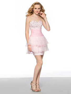Fashion Sweet Strapless Beading Sheath Lace-Up Short Homecoming Dress