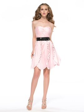 Sweet Sashes Beaded Knee-Length Sweetheart Zipper-Up Petals Skirt Homecoming Dress