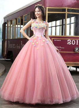 Dramatic Appliques Round Sheer Neck Beaded Quinceanera Dress