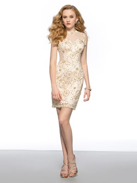 Delicate Column/Sheath Lace Center Back Zipper Short Homecoming Dress
