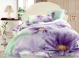 Sweet Purple Chrysanthemum 3D Bedding Sets