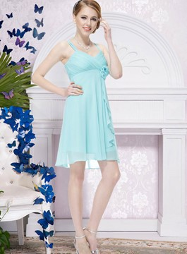Pretty A-Line Spaghetti Strap Empire Bridesmaid Dress