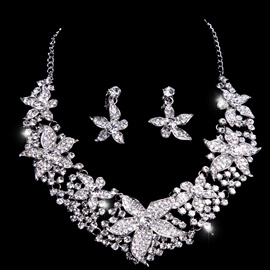 Glittering Rhinestone with Big Floral Alloy Wedding Jewelry Set(Include Necklace and Earring )