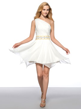 Elegant Ruched One Shoulder Side Zipper Up Short Homecoming Dress