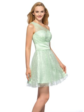 Pretty One Shoulder Sweetheart Short A-Line Sequin Homecoming Dress