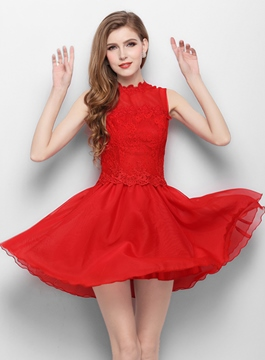 Ericdress A-Line Jewel Neck Lace Mini Homecoming Dress