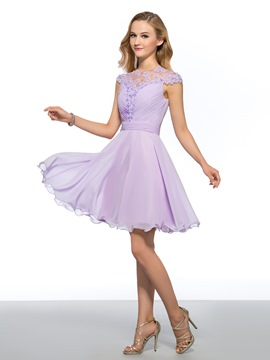 Gorgeous A-Line Cap Sleeves Jewel Homecoming Dress