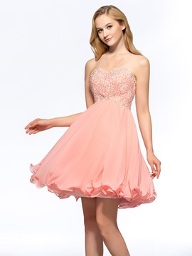 Cute A-Line Sweetheart Beaded Homecoming Dress