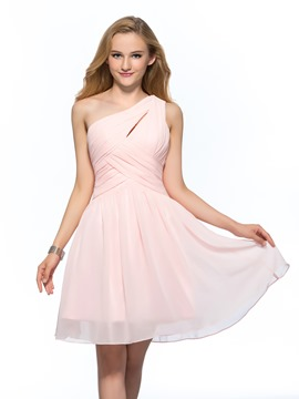 Concise Simple One Shoulder A-Line Short Homecoming Dress